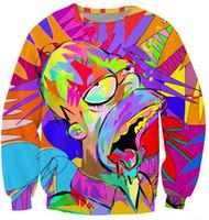 tie dye hoodies - Harajuku style men women s D sweatshirt print cartoon the Simpsons tie dye painting funny sweatshirts crewneck pullover hoodies