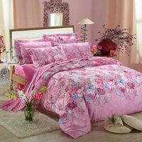 bamboo flowers bedding - Home textile Bamboo fiber cotton jacquard d bedding set flower bed linen Duvet Cover Bed Sheet Pillow Cases king queen size