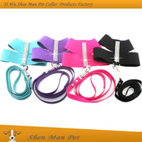 dog collars and leashes - Black Rose Blue Purple Dog Harness and Lead Fashion Bling Rhinestone Korea Suede Dog Collar Harness and Leash
