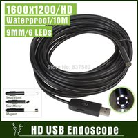 Wholesale 1600x1200 LED CMOS USB Camera Endoscope HD m Cable IP67 Waterproof Camera Video Inspection Borescope Snake Pipe Cam with mm