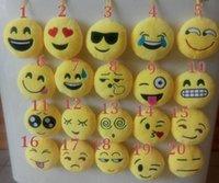 Wholesale 20 Styles Soft Emoji Smiley Emoticon Yellow Round Cushion Fun Pillows Stuffed Plush Toy Doll Christmas Present