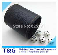 Wholesale T G High Quality PU Black Gold Leather Dice Cup mm White Dice Precision