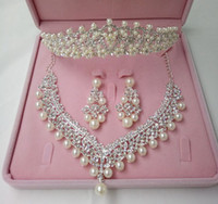 Wholesale 2016 Fashion Crown Tiara Imitation Pearls Plated Crystal Choker Necklaces Earrings Jewelry Sets For Wedding