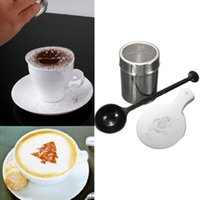 Wholesale 1 Set Kitchen Powder Coffee Cappuccino Stencils Chocolate Shaker Duster Sifter And Measure Spoon Cool Cooking Tools