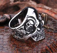 big biker rings - Drop Ship Fashion Ring Stainless Steel Rings For Man Big Tripple Skull Ring Punk Biker Jewelry