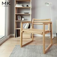 aluminum office chairs - Modern oak furniture simple restaurant office double chair solid wood dining chair low back chinese style chair