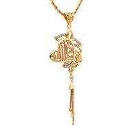 muslim jewelry - 2015 Women k gold plated Arabic muslim Heart fret pierced pendant rhinestone tassel pendant jewelry