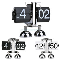 Wholesale New Hot Modern Digital Auto Black White Flip Dual Stand Metal Desk Table Alarm Flip Clock B20