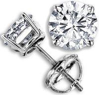 14k gold earrings - 2 CT G H SI GENUINE ROUND DIAMOND STUD EARRINGS K WHITE GOLD NATURAL