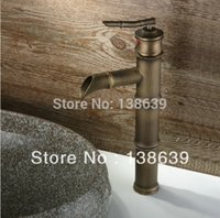 bamboo basin faucet - Hot sale Bamboo style antique basin faucet brass brushed waterfall faucet for bathroom bathroom sink taps