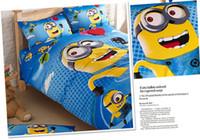 Wholesale New Minions three piece Children s Bedding Sets Cartoon Movie Despicable Me Kids cotton Nursery Bedding