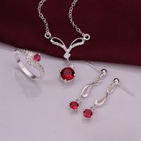 Cheap Wedding Ring 925 Sterling Silver Sparkly Red Zircon Necklace Earrings Rings Jewelry set