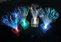 achat en gros de noël lumières de couleur-7 couleurs de changement de fibre optique clignotant LED Cube Nightlight lampe nuit lumière Party Noël cadeau de décoration Livraison gratuite