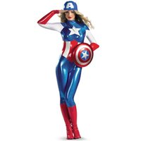 Wholesale supergirl Avengers Captain America costume Women adult superhero cosplay sexy catsuit halloween costume for women