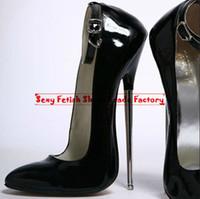 Wholesale Extreme high heel cm PU Shiny quot heel Sexy fetish High Heel BUCKLE STRAP Single Sole SEX PUMPS with metal heel women pump sexy show pumps