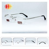 Wholesale 2016 new silver Men power lens trimming diamond cut metal stainless steel high quality rimless reading glasses
