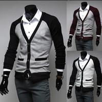 Wholesale New arrive Korean men s clothes men s slim V neck Cardigan Men s sweater men s Knitwear mens sweater gray