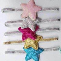 Wholesale birthday gift glitter star headband for newborn baby girl sparkly elastic ribbon hair band pink gold blue gray fuchsia
