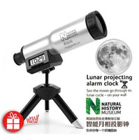 antique projects - natural lunar projecting projection clock with tripod telescope shape creative nice clock