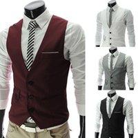 Wholesale Men fashion Slim Fit Vest Three Buttons Casual Vest Waistcoat Tops