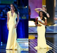 Wholesale Custom Made Nina Davuluri Miss America Pageant Dresses Sexy Yellow V Neck Short Sleeve Backless Mermaid Sweep Train Jersey Evening Gown