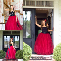 Wholesale Strapless Ball Gown Junior Girls Dress For Wedding FlowerGirls Sleeveless Ribbons Backless Floor Length Red And Black Pageant Gowns FX