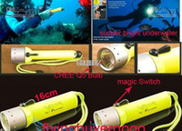 Wholesale Flashlight For Diving Mode Lumen CREE Q5 LED underwater Torch With Yellow Black Red Blue