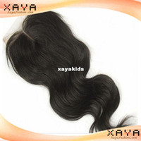 Wholesale Newest top quality remy human hair body wave Indian human hair no shedding lace closure CB107