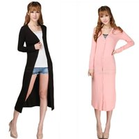 air midi - Fashion candy color ultra long modal cardigan sunscreen full dress lengthen long sleeve air conditioning shirt with button