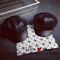 beret flash - Korean Trendy Accessories Winter Warm Gorras Planas Luxury Leather Flash Hat For Women Beret Cap