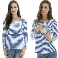Wholesale Cotton Nursing Tops Long Sleeve Maternity clothes Breast feeding tops Tees for Pregnant Women casual feeding Hot