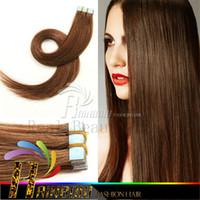 Les brunes France-2 # Darkest Brown PU Peau Trame Cheveux Brésilien 18