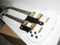Wholesale Left Hand Double Neck Electric Guitar golden Custom Double Neck Electric Guitar left handed guitar in white strings