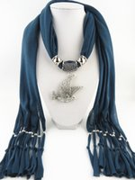 Wholesale Horse pendants scarf jewelry Animal Pendant scarf with jewellery cotton soft scarves beads Mix design Colors
