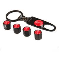 Wholesale 4 set Mustang Cobra Snake Shelby Red Logo Black Mental Tire Wheel Stem Valve Caps with Spanner Keyring For Focus