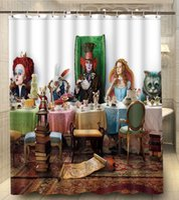 alice curtain - Alice in Wonderland Eatting Food Print x180cm Waterproof Custom Shower Curtain High Quality Polyester Bath Curtain