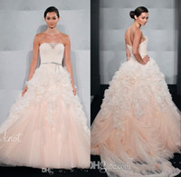 beaded mark - Sweet Blush Pink Romantic Ball Gown Wedding Dresses For Bride Designer Mark Zunino Bridal Gowns Ruffled Tulle With Beaded Sash Cheap