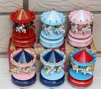 Wholesale 20pcs Wooden Merry Go Round Carousel Music Box For Kids Wedding Gift