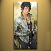 adam arts - High quality Hand painted Portraits Oil Painting Wall Decor Art On Canvas ADAM LAMBERT x48inch Unframed