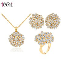 Wholesale LUOTEEMILuxury K Champagne Yellowe Gold Clear Cubic Zirconia Crystal Flower Shape Copper Alloy Women Necklace Earrings Ring Set Jewerly