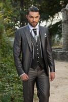 mens suits - Hot Sale Arabic Charcoal Customized Wedding Ceremony Mens Suit Groom Tuxedos bridegroom and Groomsman Suit Jacket Pants Tie Vest
