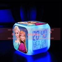 Wholesale frozen Retail And New LED Colors Change Digital Alarm Clock Frozen Anna and Elsa Thermometer Night Colorful Glowing Clock BO6972