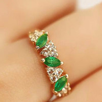 antiques diamond rings - Fashion Antique Luxury Women rings Ruili Sweet Retro Emerald Ring lash Imitation Diamond Rings Women Jewelry