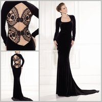 black velvet dress - Tarik Ediz Design Sexy Black Square Long Seeveless Velvet Evening Dress Illusion Lace Back Evening Gowns