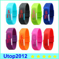 Wholesale 2015 Sports rectangle led Digital Display touch screen watches Rubber belt silicone bracelets Wrist watches DHL