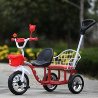 baby bike - Wholesales Large Wheels Child Tricycle Double Seats Summer Kid Outdoor Activity Toys Portable Baby Bike Strollers JN0040