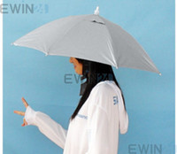 Wholesale Outdoor Fishing Foldable Elastic Head Umbrella Cap Hat Silver Outdoor simple umbrellas for hiking Hands free