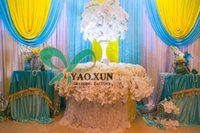 baby curtain - White Backdrop Curtain With Baby Blue And Yellow Swag Drape m m