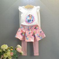 Wholesale Frozen Girls Sets New Autumn frozen long sleeve T shirt Culottes suit piece fitted children clothing