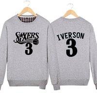 basketball coat - Iverson round neck sweater fall and winter clothes large size men s basketball sports training coat thick velvet